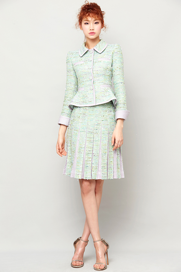 GREEN TWEED PLEATS SKIRT