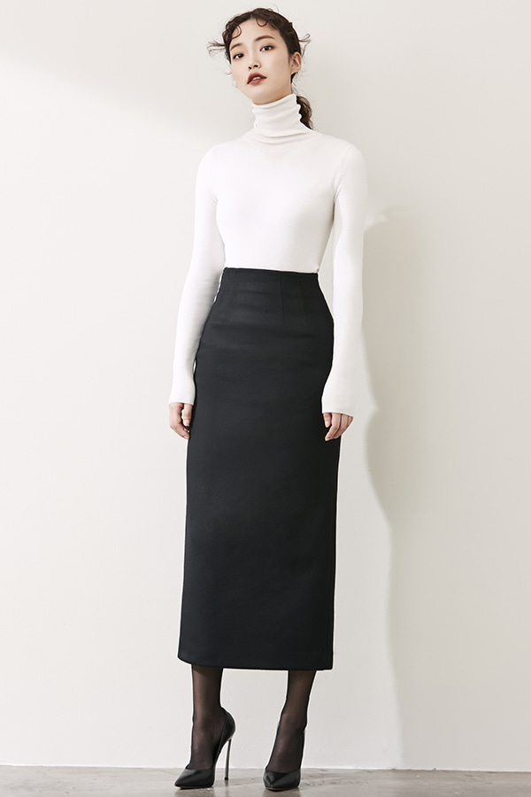 BLACK H-LINE CASHMERE LONG SKIRT