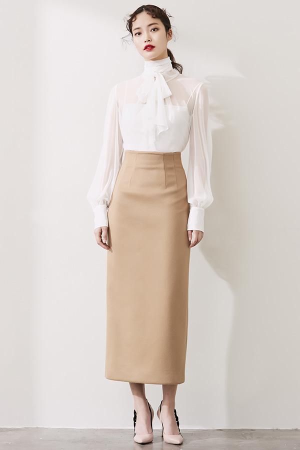 CAMEL H-LINE CASHMERE LONG SKIRT