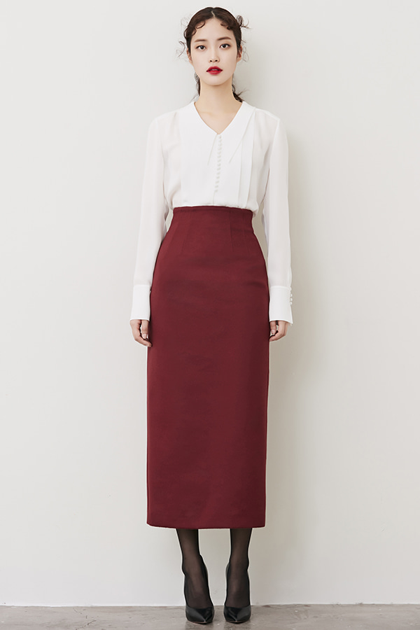 BURGUNDY H-LINE CASHMERE LONG SKIRT