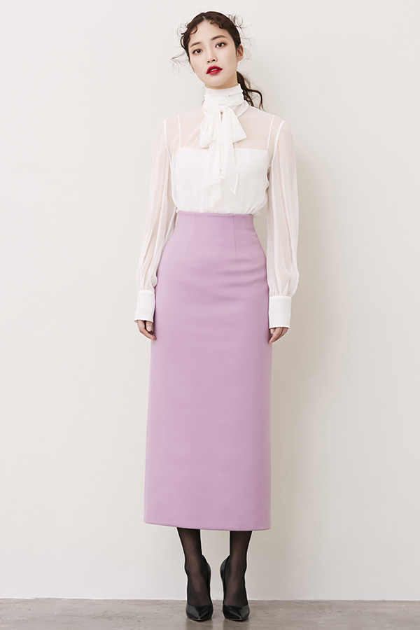 LILAC H-LINE CASHMERE LONG SKIRT