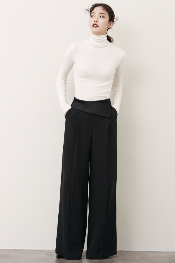 BLACK  SATIN BAND WIDE SILK PANTS