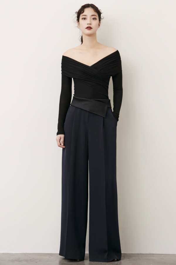NAVY SATIN BAND WIDE SILK PANTS