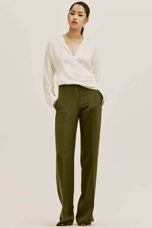 KAKHI  SILK STITCH WIDE PANTS