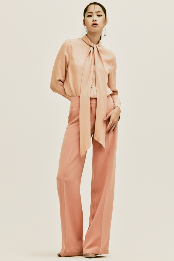 PEACH SILK STITCH WIDE PANTS