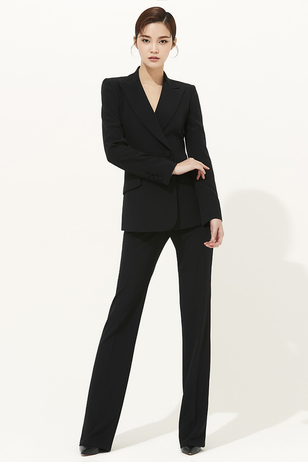 BLACK SILK SLIM-LEG PANTS