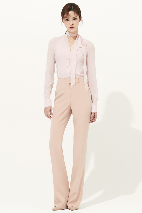 BEIGE SILK SLIM-LEG PANTS