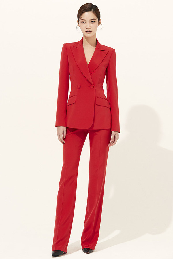 RED SILK SLIM-LEG PANTS