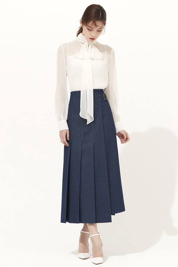MJ DENIM PLEATS LONG SKIRTS