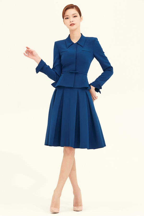 ROYAL BLUE SILK VOLUME PLEATS SKIRT