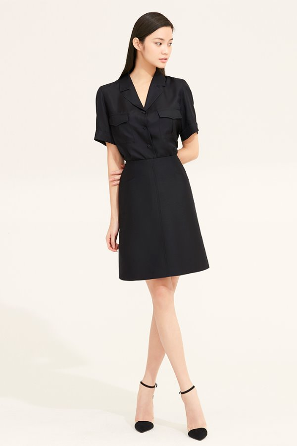 BLACK OPEN COLLAR SILK POCKET BLOUSE