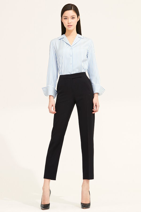 BLACK SLIM LINE ANKLE SILK PANTS