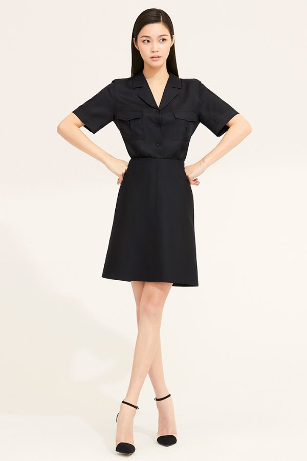 BLACK WOOL SILK A LINE SKIRT