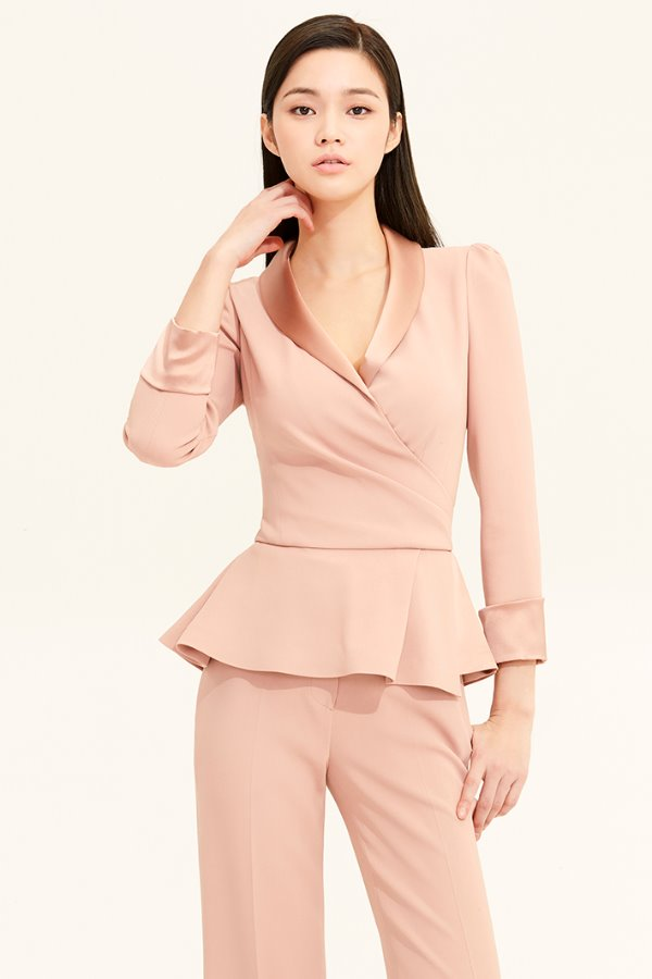 PEACH BEIGE SATIN SHAWL COLLAR FLARE CREPE TOP