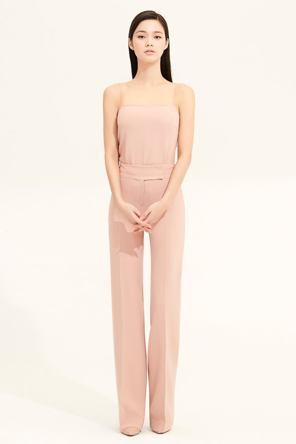 PEACH BEIGE SLIM LINE CREPE PANTS