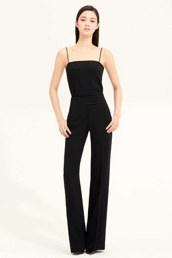BLACK SLIM LINE CREPE PANTS