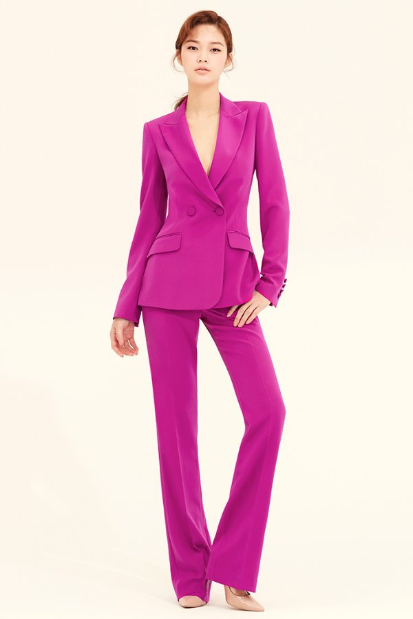 PLUM SILK SLIM-LEG PANTS