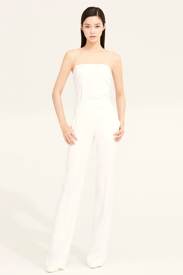 WHITE SLIM LINE CREPE PANTS