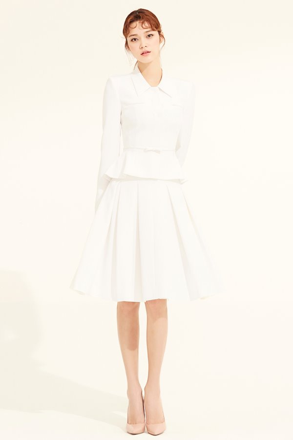 WHITE SILK VOLUME PLEATS SKIRT