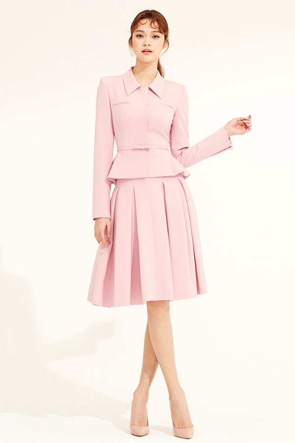 PINK SILK VOLUME PLEATS SKIRT