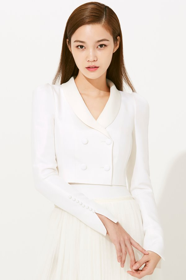 SHAWL COLLAR CROP WOOL SILK JACKET