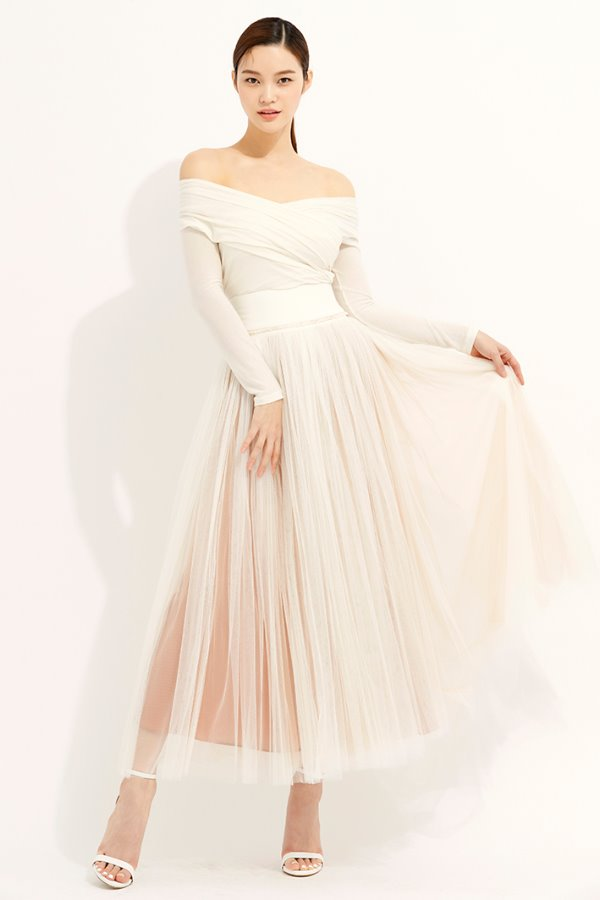 WHITE WOOL SILK YORK TULLE SKIRT