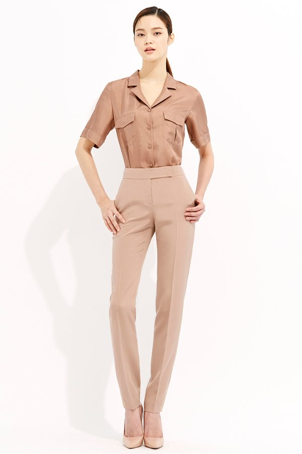 BROWN SLIM LINE ANKLE SILK PANTS