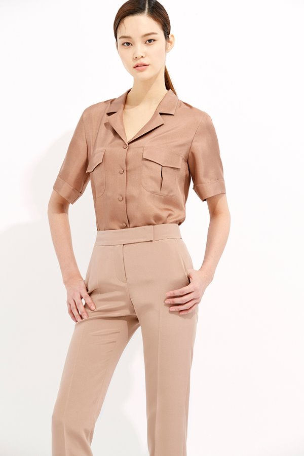 BROWN OPEN COLLAR SILK POCKET BLOUSE