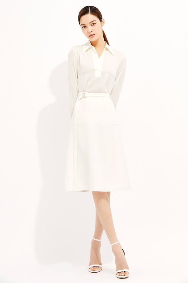 WHITE PATCH POCKET A LINE SILK SKIRT