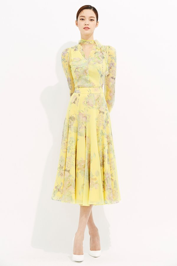 YELLOW SILK CHIFFON FLARE SKIRT