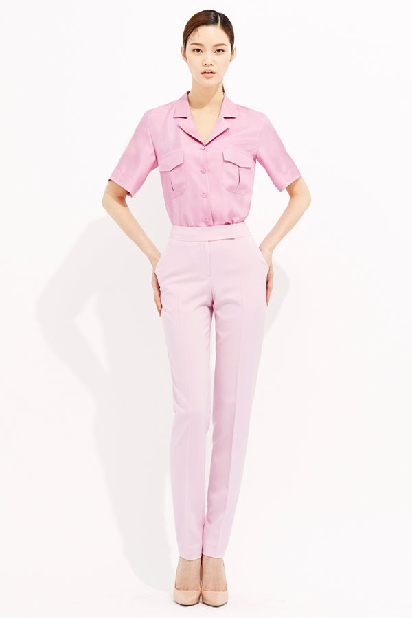 PINK SLIM LINE ANKLE SILK PANTS