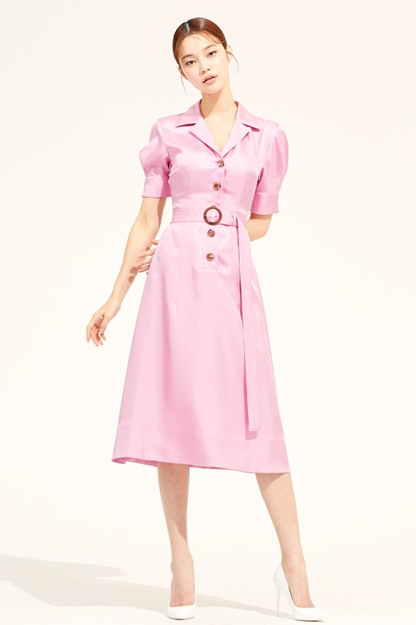 PINK OPEN COLLAR FLARE SILK DRESS