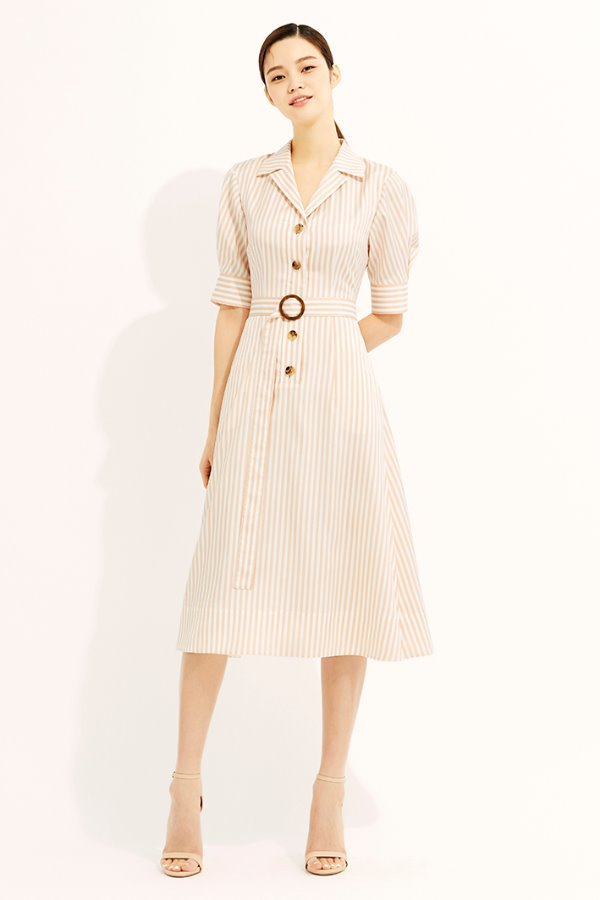 PINK STRIPE OPEN COLLAR FLARE SILK DRESS