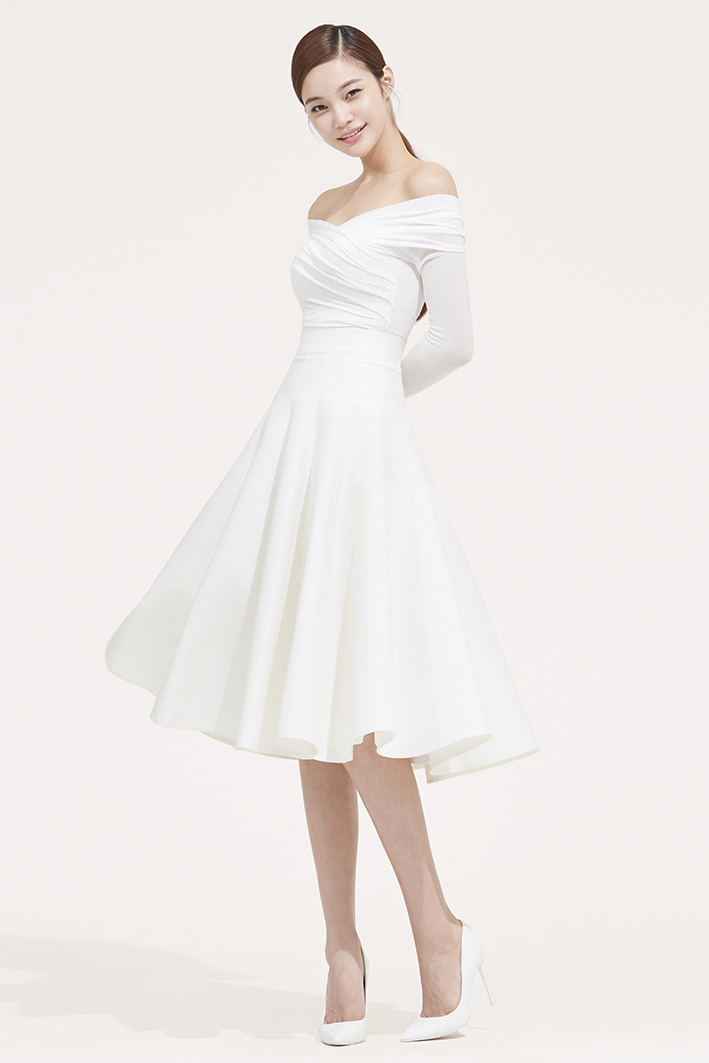 WHITE WOOL SILK FLARE SKIRT