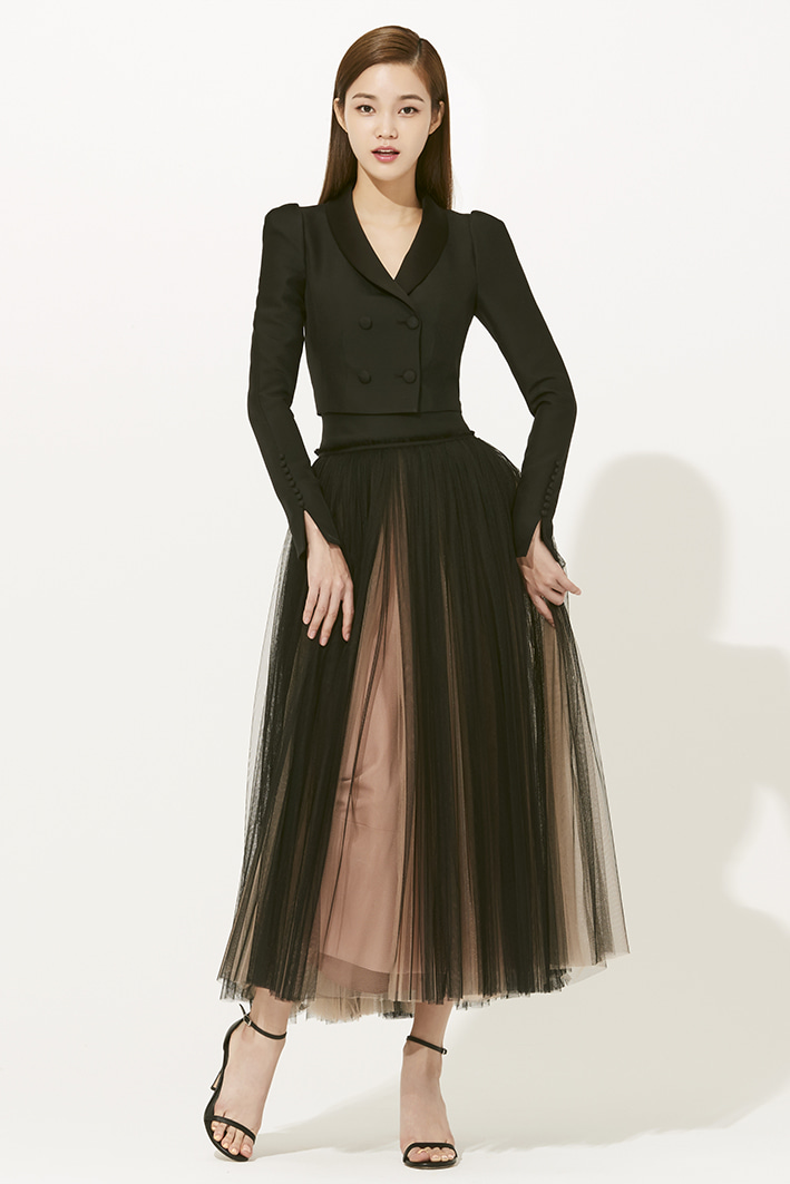 BLACK WOOL SILK YORK TULLE SKIRT