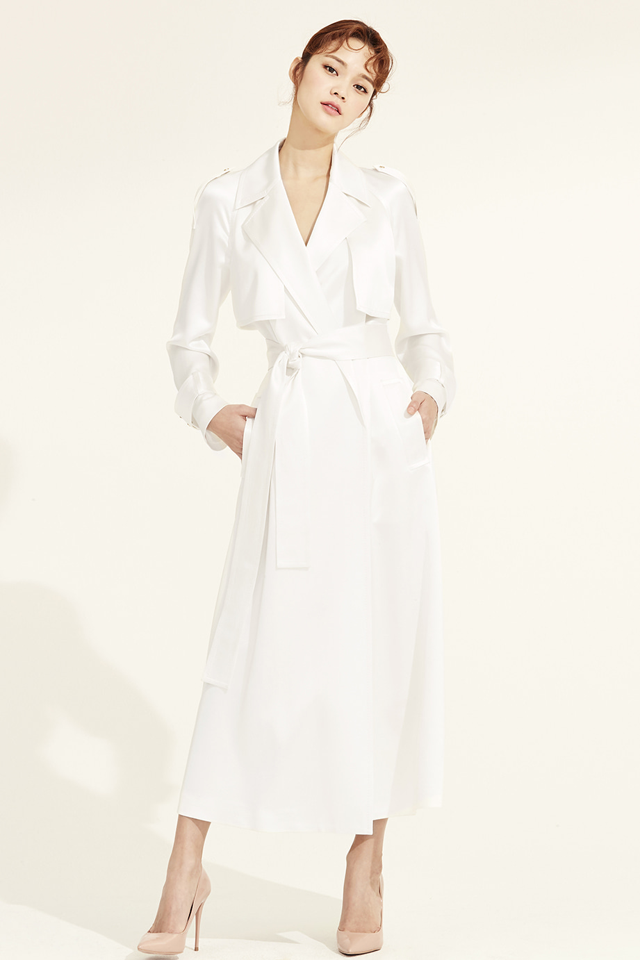 RAGLAN MAXI SILK TRENCH COAT