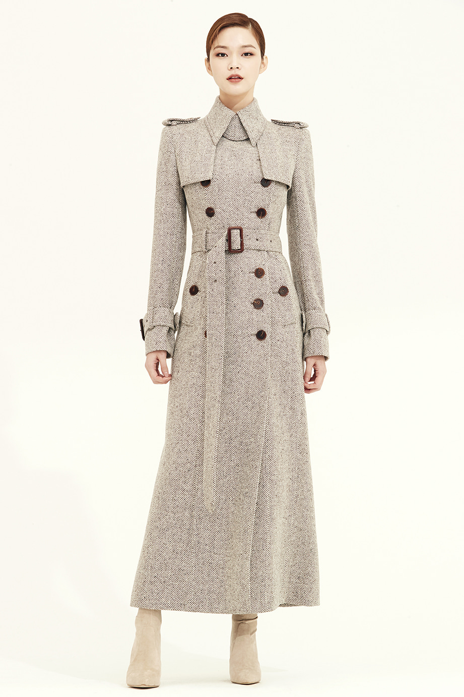 HERRINGBONE WOOL MAXI TRENCH COAT