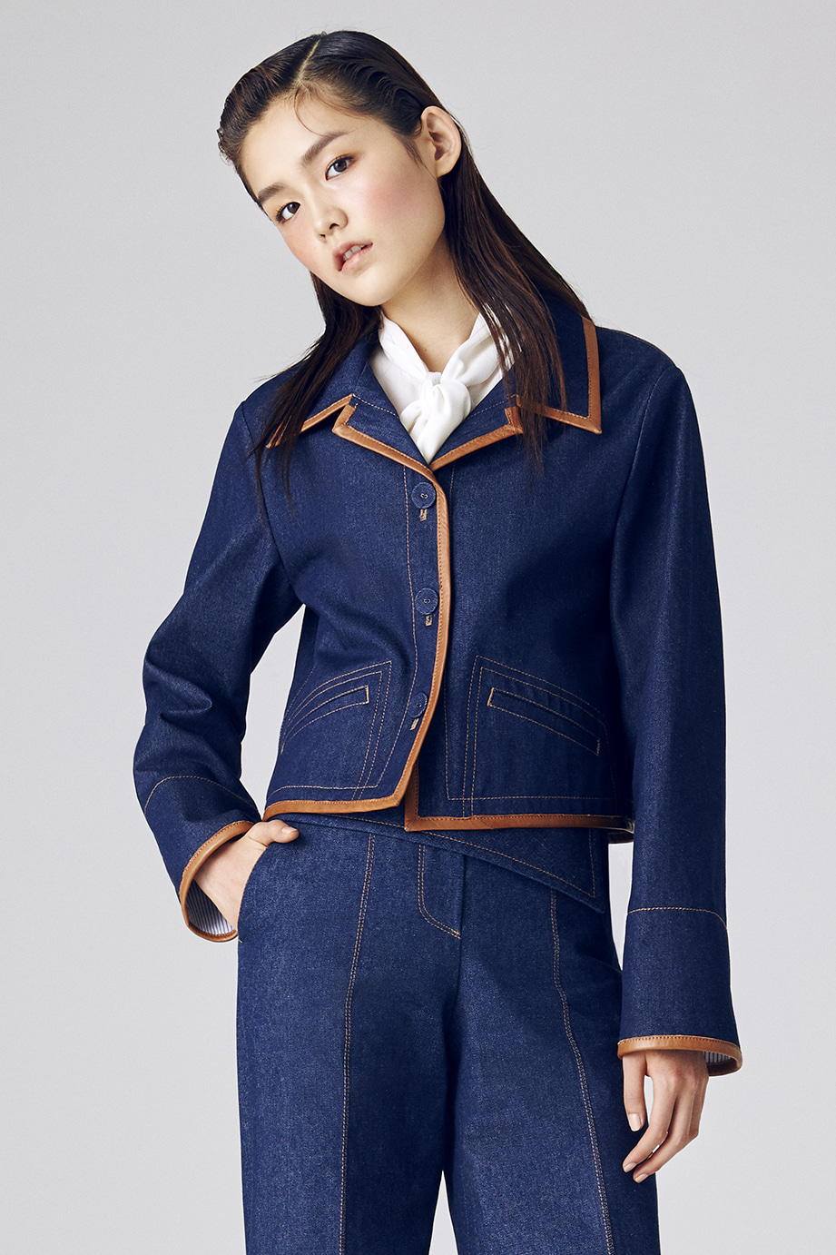 JAL LETHER TRIMMING DENIM JACKET
