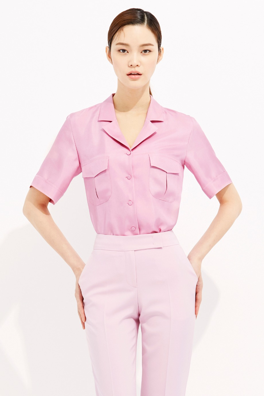 PINK OPEN COLLAR SILK POCKET BLOUSE