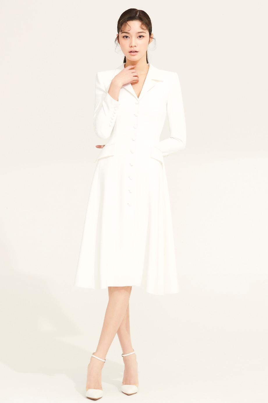 SLIM LINE BELTED FLARE CREPE COAT DRESS
