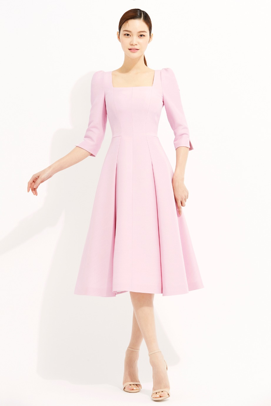 WOOL SILK SQUARE NECK LINE FLARE DRESS
