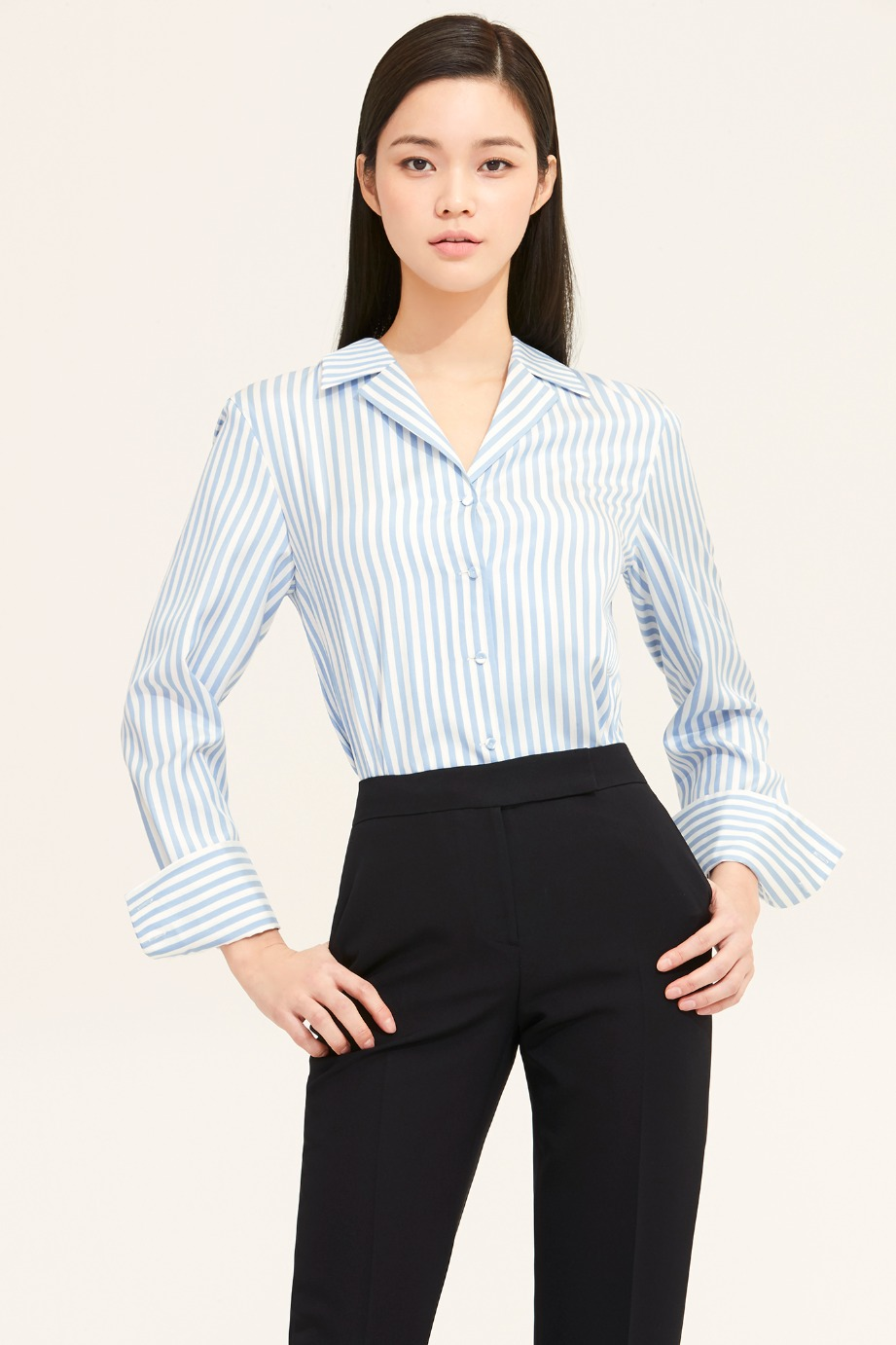 BLUE STRIPE OPEN COLLAR SHIRT