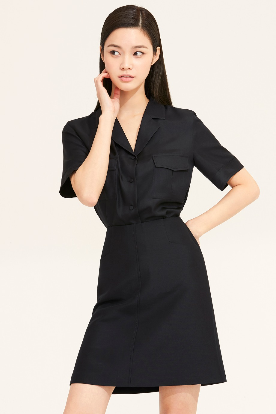 OPEN COLLAR SILK POCKET BLOUSE