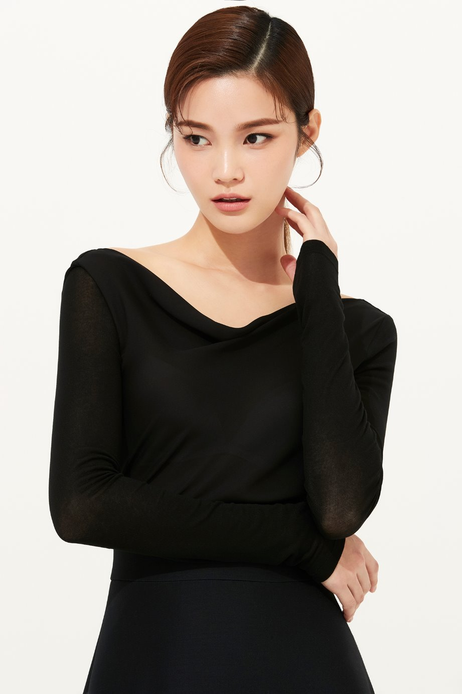 BLACK COWL NECKLINE SILK TOP