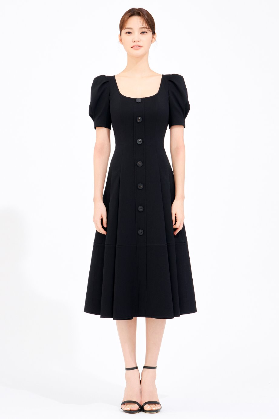 U NECKLINE FLARE DRESS