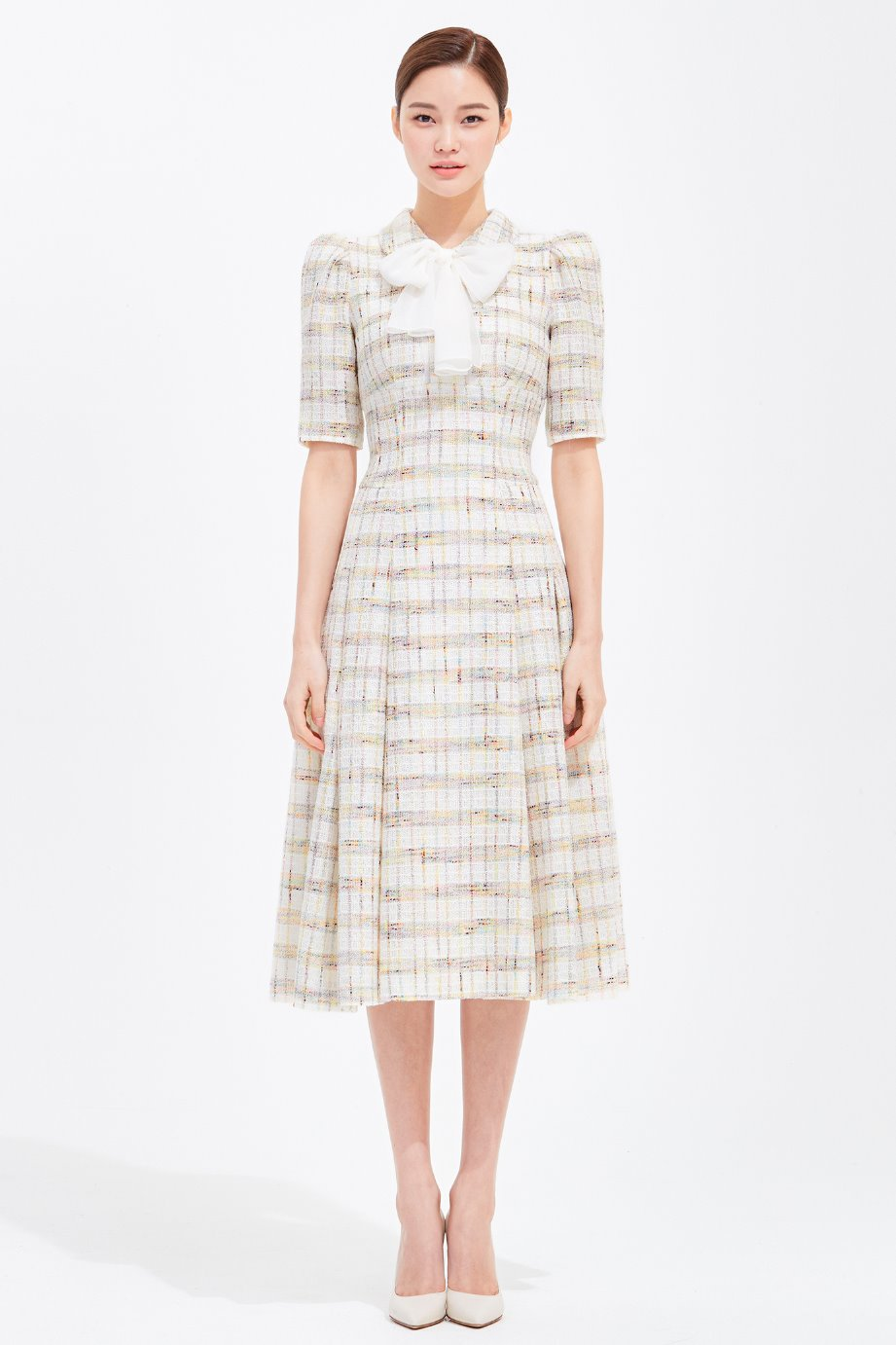 TWEED PLEATS DRESS